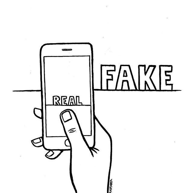 Who's to say what's real and what's fake? Well... we all are! 😂 • While the pictures of what you see online may be edited so much that they don't represent reality, the people you interact with are typically real people with feelings. Remember this! Don't compare yourself to fake realities, but do treat people with dignity. ✌🏽 • Also some words of wisdom from our founder:  use tech as a supplement, not a substitute, for communication.