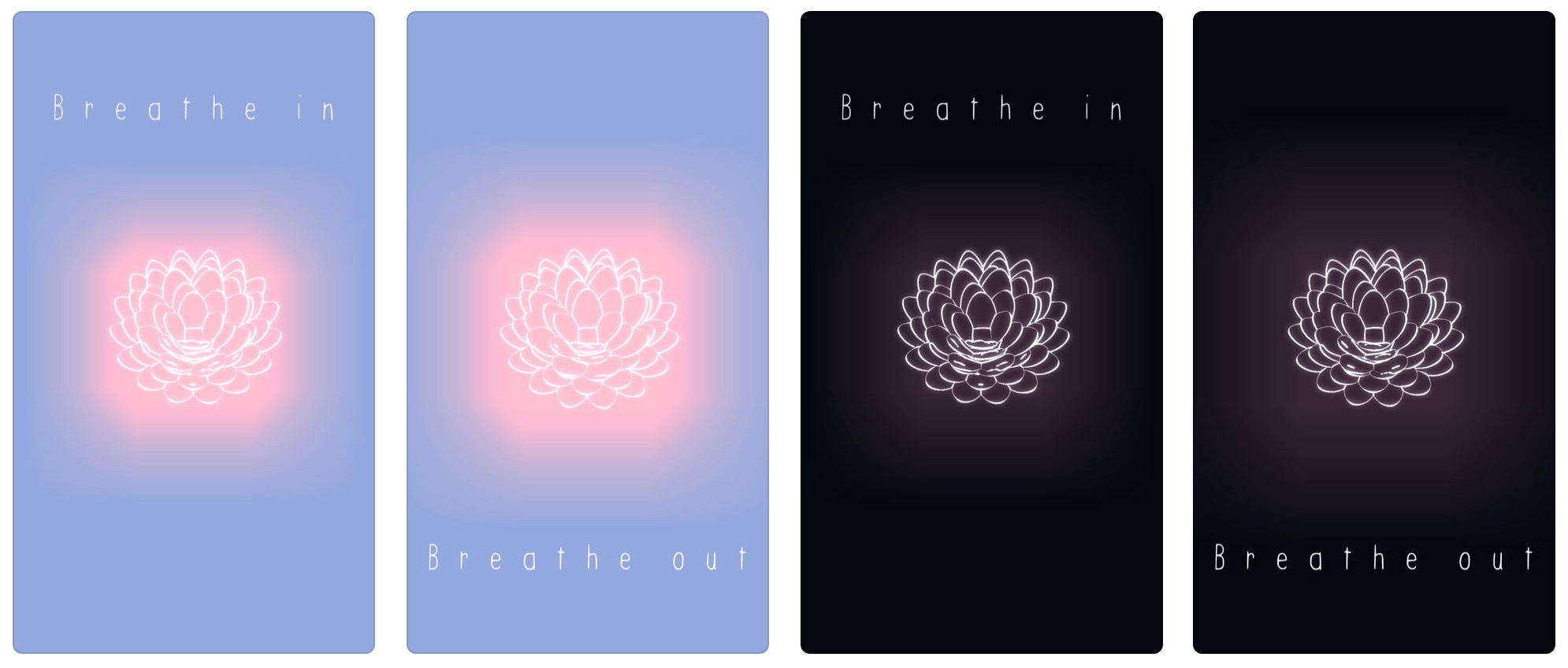 "Four screen shots of TRU LUV's app. The screens say ""Breathe in. Breath out,"" and show a glowing lotus flower."