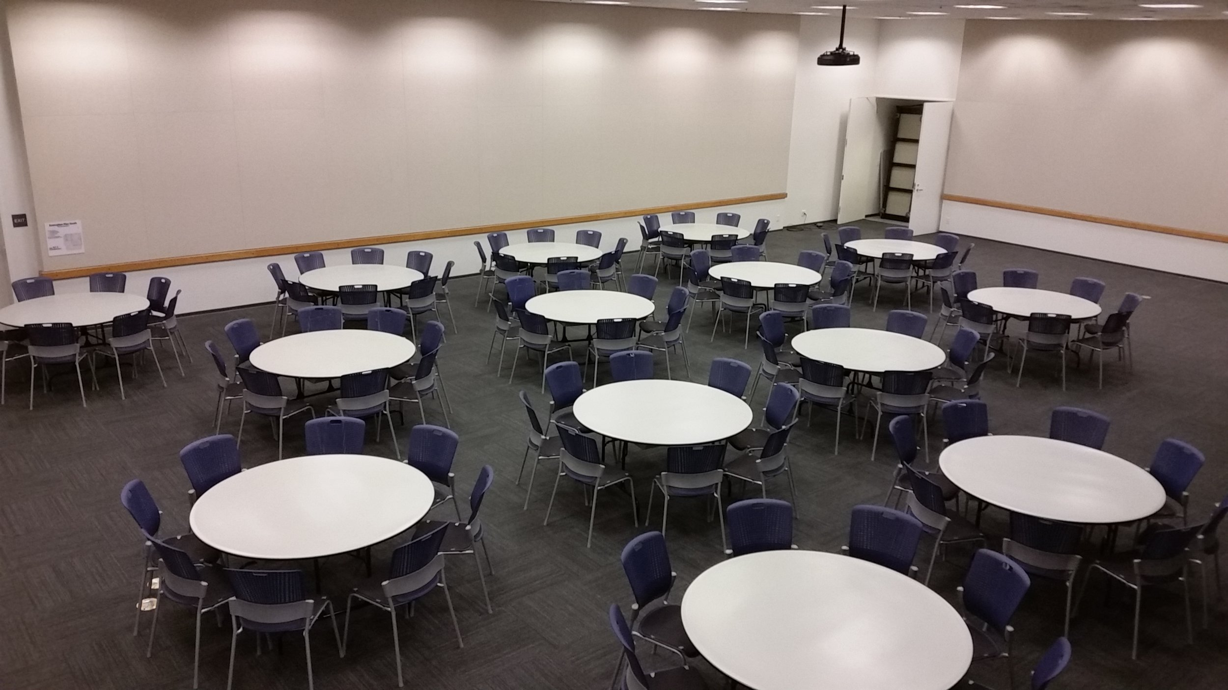 """Tassajara Room. Banquet (""""rounds"""") seating for up to 112 people."""