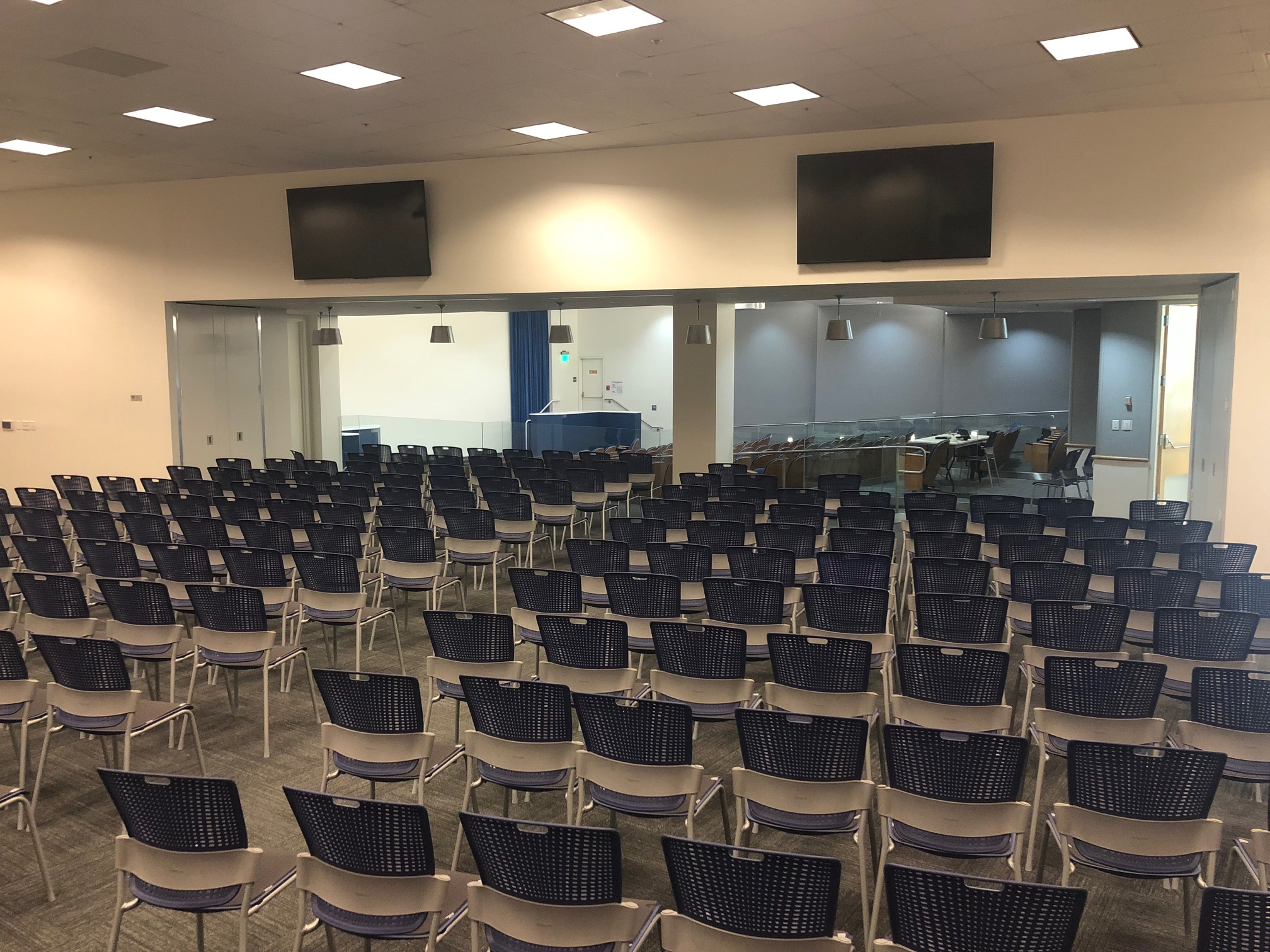 Tassajara Room.Theater seating for up to 225 people. Option shown: seating oriented toward Auditorium with air wall open.