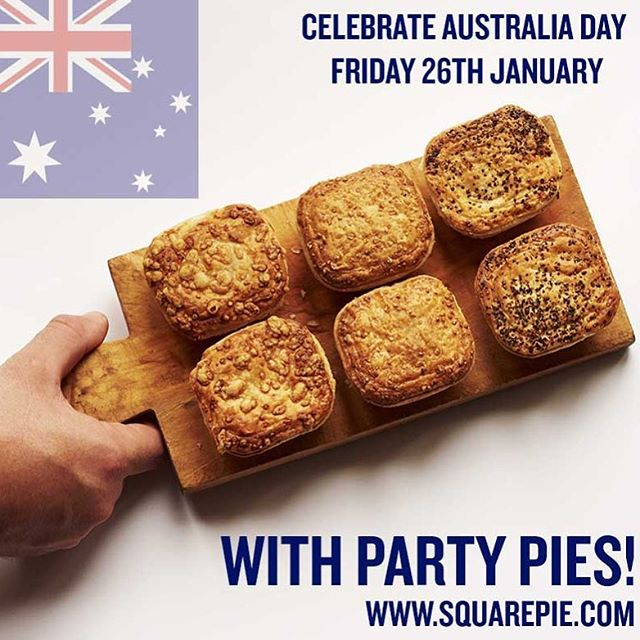 Book your Party Pie delivery for this Friday (26th January = Australia Day 🇦🇺) Email delivery@squarepie.com or buy our Proper Little Pies online @ocadouk & @waitrose  #australiaday #partypies #aussiesofinstagram #australiaday2018