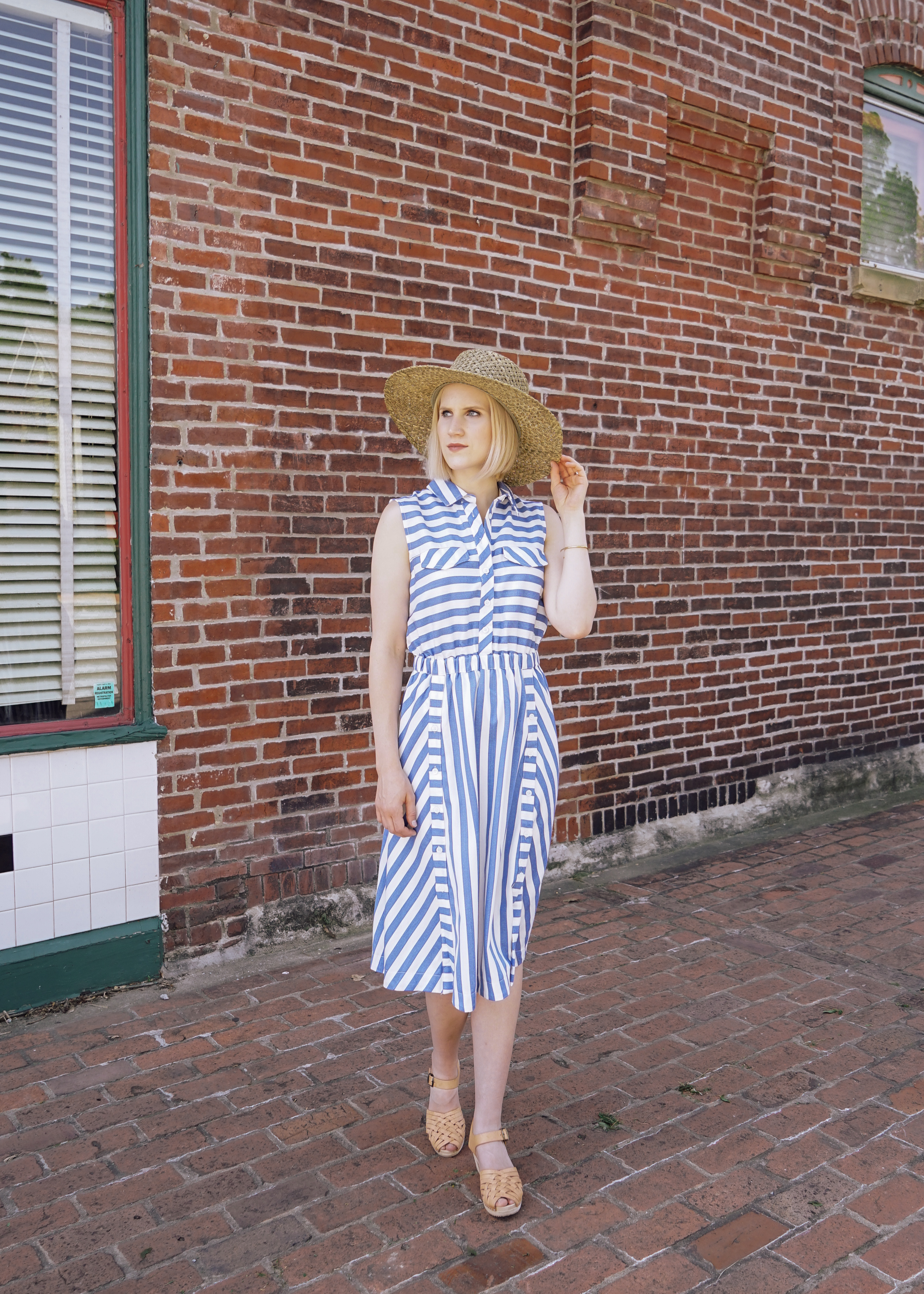 Copper Threads Blue Stripped Dress