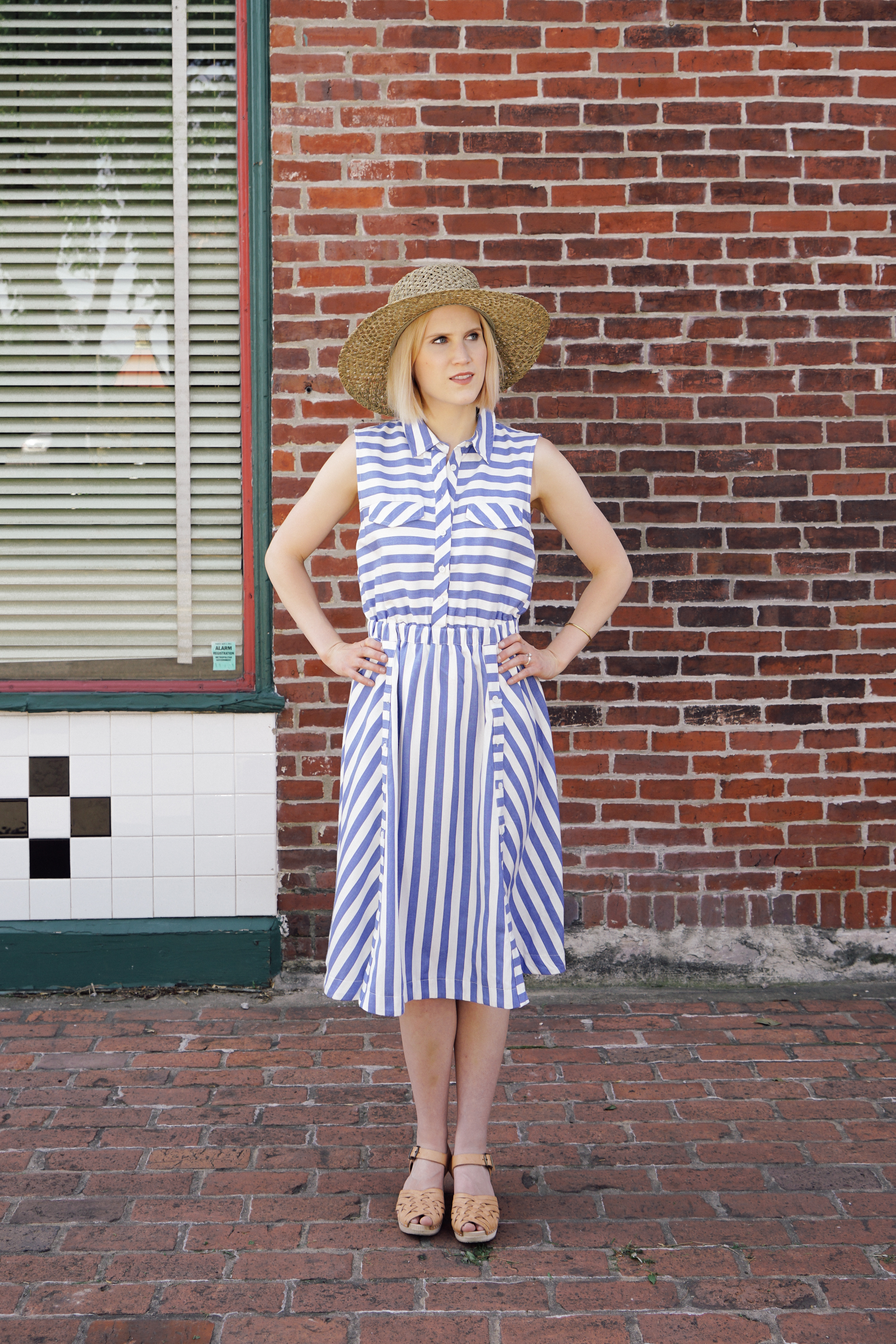 Copper Threads Blue and White Stripped Dress