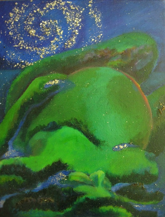 Galaxy Waiting by Carla Sanders An image of Ostara, fertile and ready to give birth..