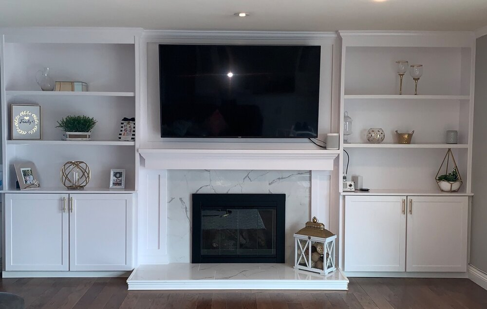 Diy Fireplace Surround And Built Ins, Built In Cabinets Around Fireplace