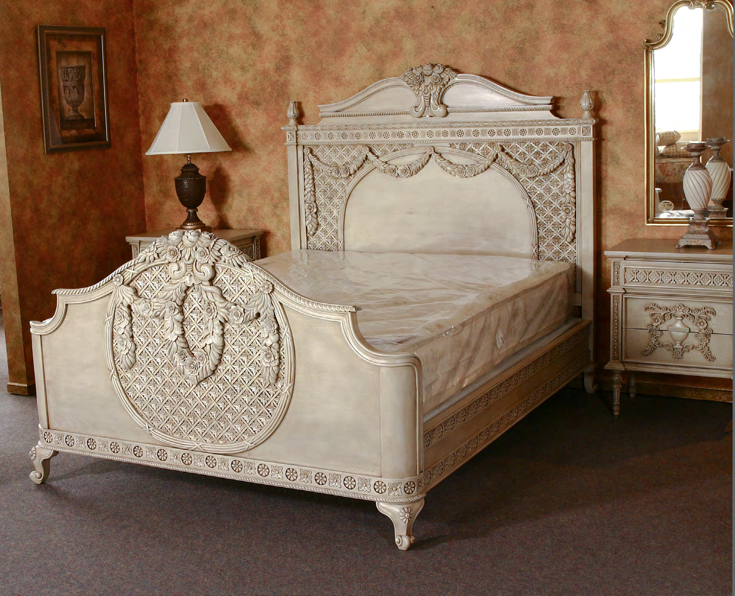 B110 - Carved French Bed