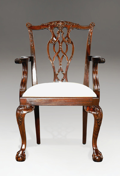 CH014A -Carved Lion Chippendale Arm Chair