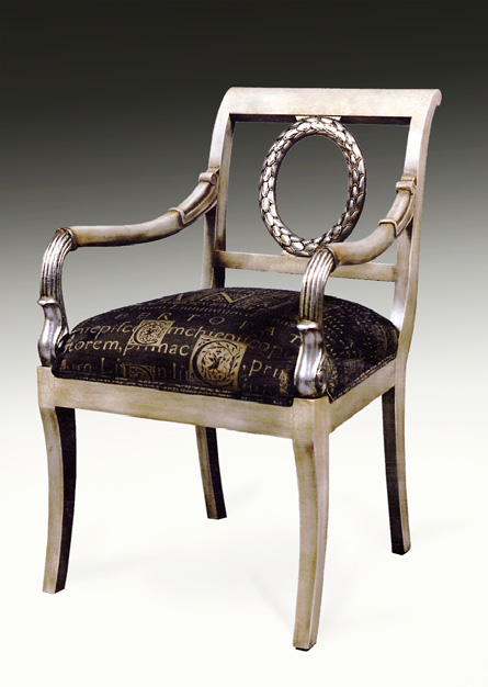 CH2000A - Empire Wreath Open Back Arm Chair