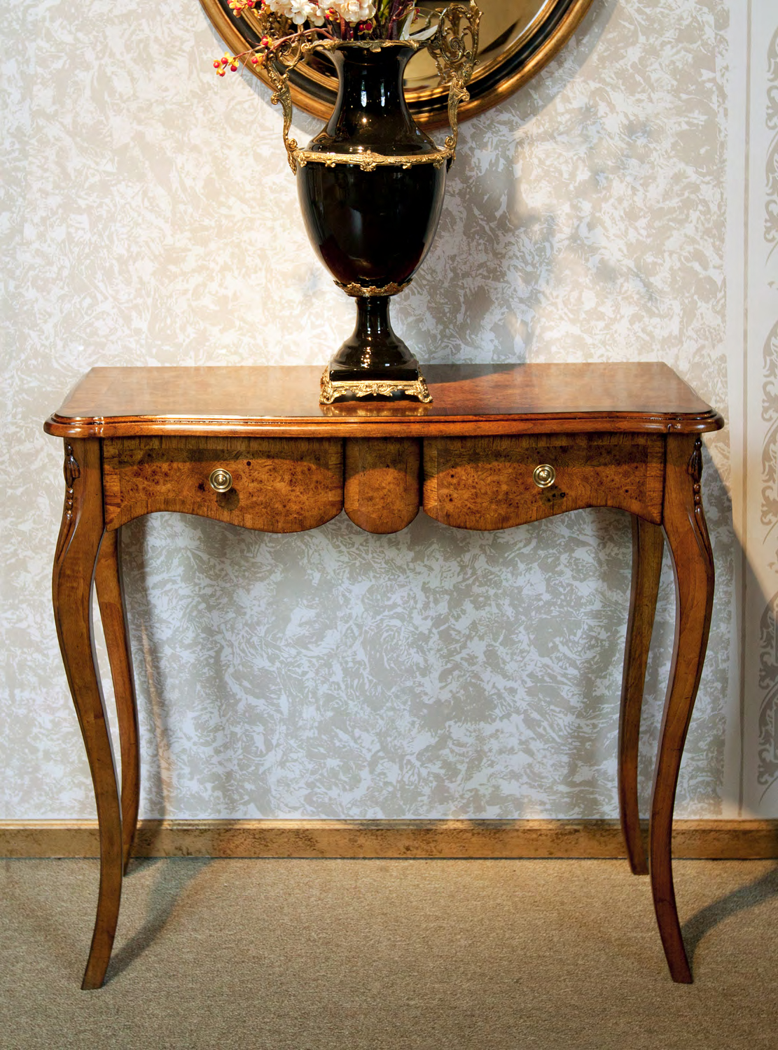 TA11F - Louis XV Transitional Two Drawers Console Table