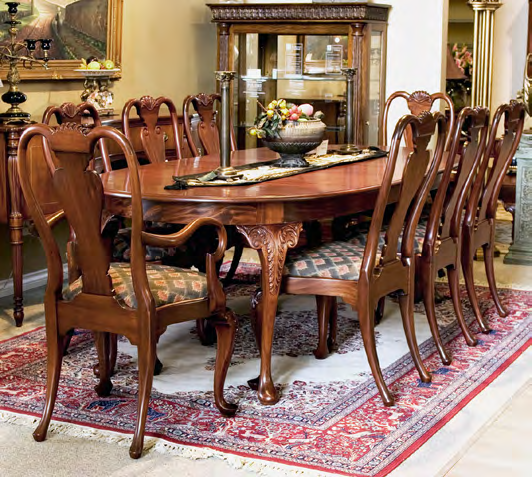 TA205 - Queen Anne Style Dining Table Two Leaves