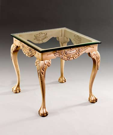 TA408 - Chippendale Style Glass Top End Table
