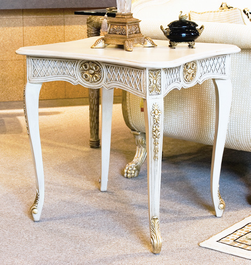 TA1016SQ - Hand Carved Louis XV Rectangular End Table