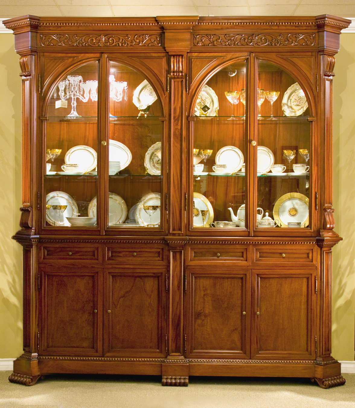CA510 - Carved Empire Style China/Bookcase