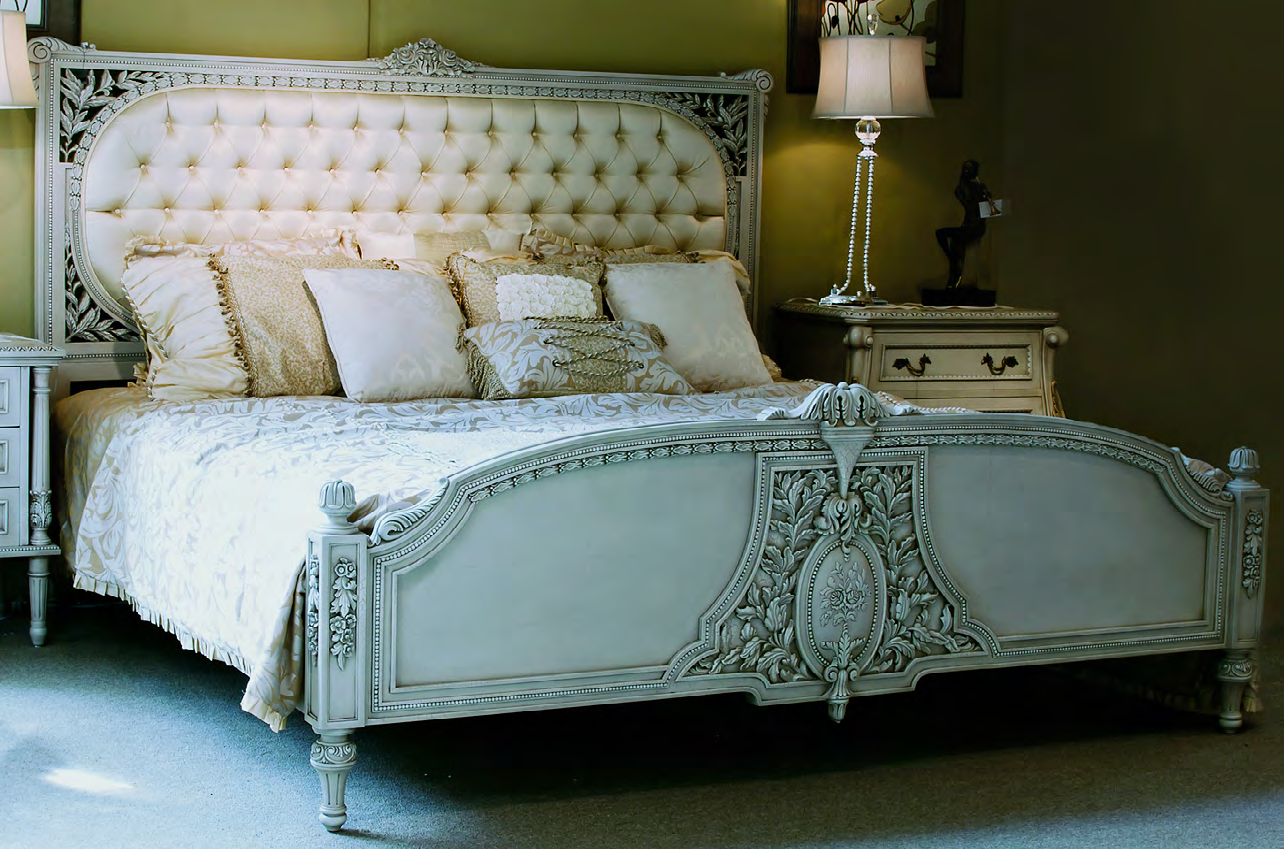 B500 - Louis XVI Style Carved Upholstery Bed