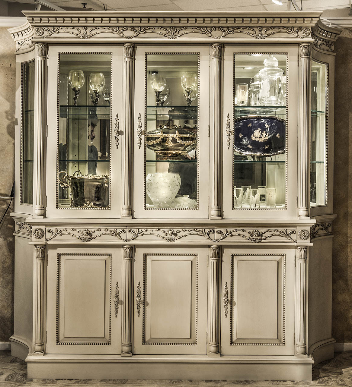 CA8020 - Carved French Boulle Three Door Cabinet