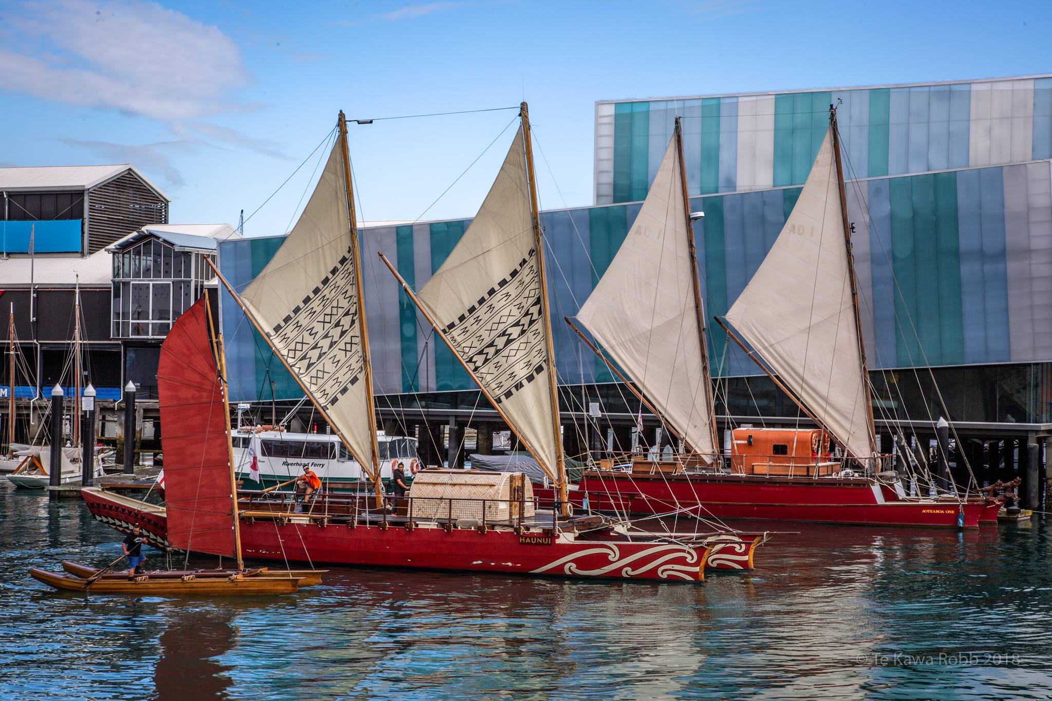 Pūmaiterangi, Haunui, and Aotearoa One, outside the New Zealand Maritime Museum in Tāmaki Makaurau (Auckland).