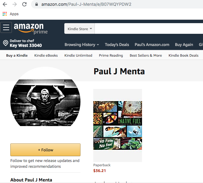 Chef Paul Menta's Amazon author page for Key West Native Fuel cookbook