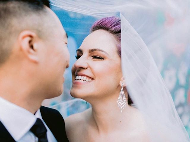 Our stunning purple l-haired beauty on her wedding day @bergeronwallis 😍 Hair by Tay C, makeup by Olivia! #muahtaycercone #muaholivianierhake . Photo by @apollofotografie