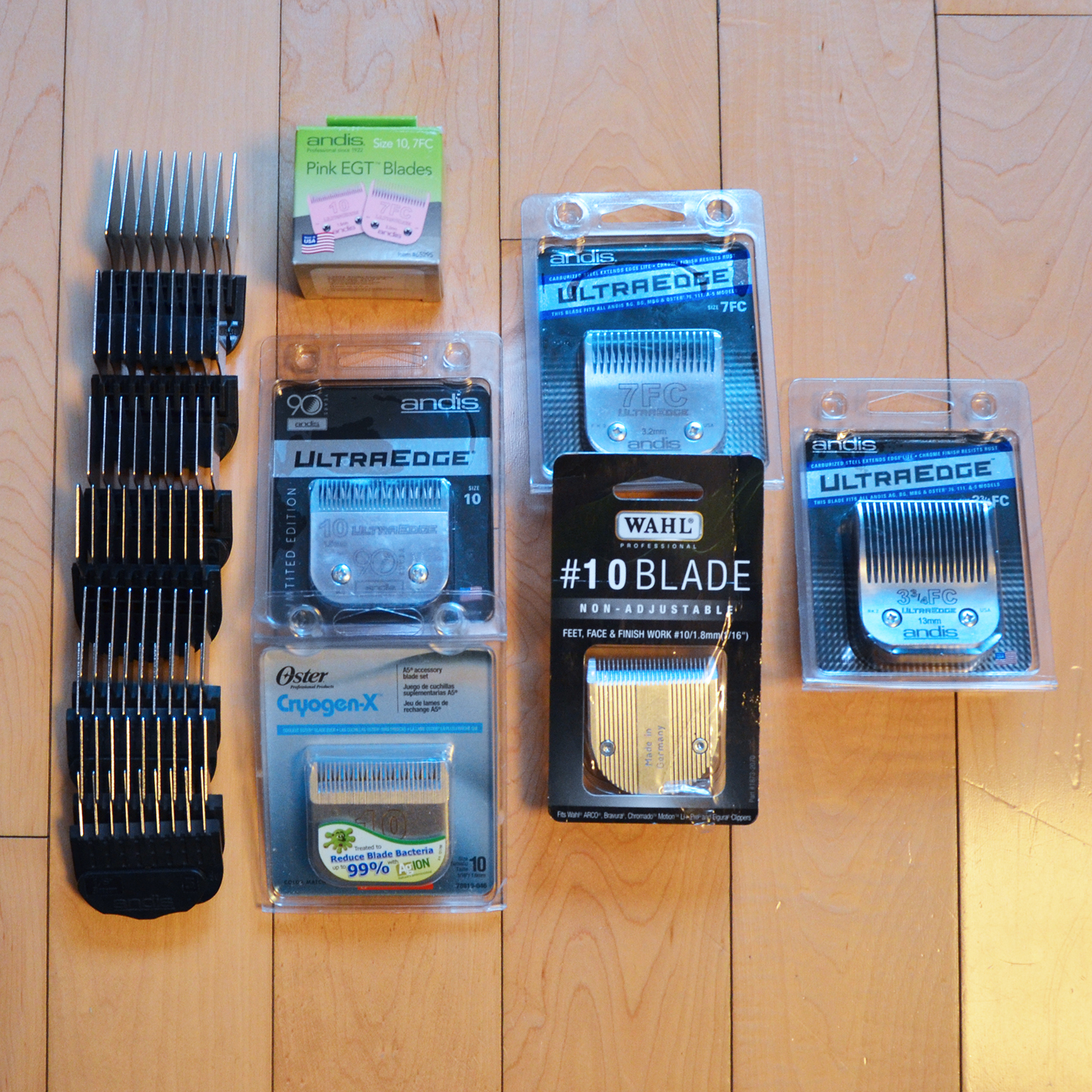 Set of magnetic comb attachments, 7 blades
