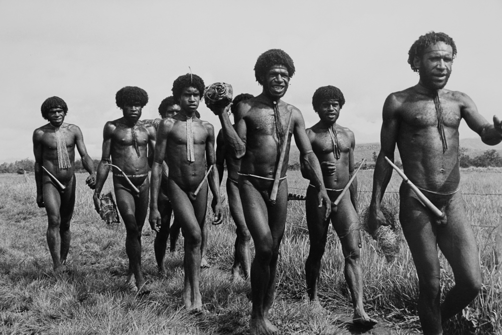 Papuan group of men, Baliem Valley, West Irian Jaya, Indonesia 1971