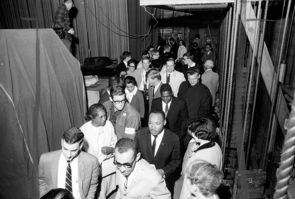 Martin Luther King, Jr. visits Stanford, April 23, 1964. Courtesy of Stanford Libraries.