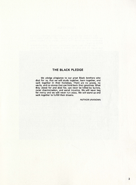 Page 3 from  BLACK 70,  an African-American Stanford yearbook edited by Joyce King in 1970.