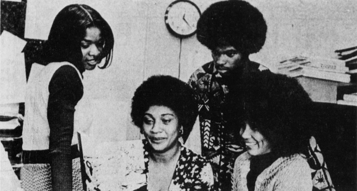 Few teaching materials in 1973 addressed African or African-American culture. So Stanford's Black Volunteer Center compiled its own, edited by Grace Carroll Massey, '71, MA '72, PhD '75, right, with Marilyn Monmouth, Linda (Spears-) Bunton, MA '71, and Kimble Smith. Massey became renowned for her research on race and stress, while Spears-Bunton leads the English Education graduate program at Florida International University.  The Stanford Daily.