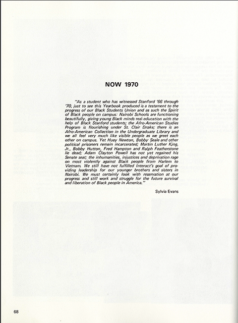 Page 68 from  BLACK 70,  an African-American Stanford yearbook edited by Joyce King in 1970.