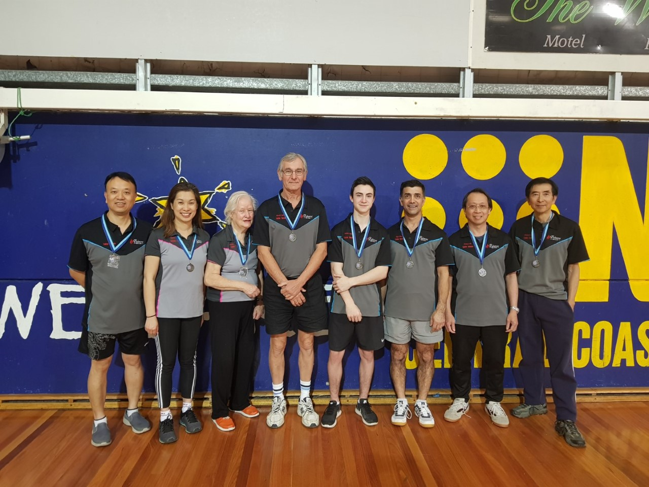 Our players from left are Simon, Connie, Gillian, David, Tom, Rodger, Thomas & Michael at the 2018 City V Country Table Tennis Competition.