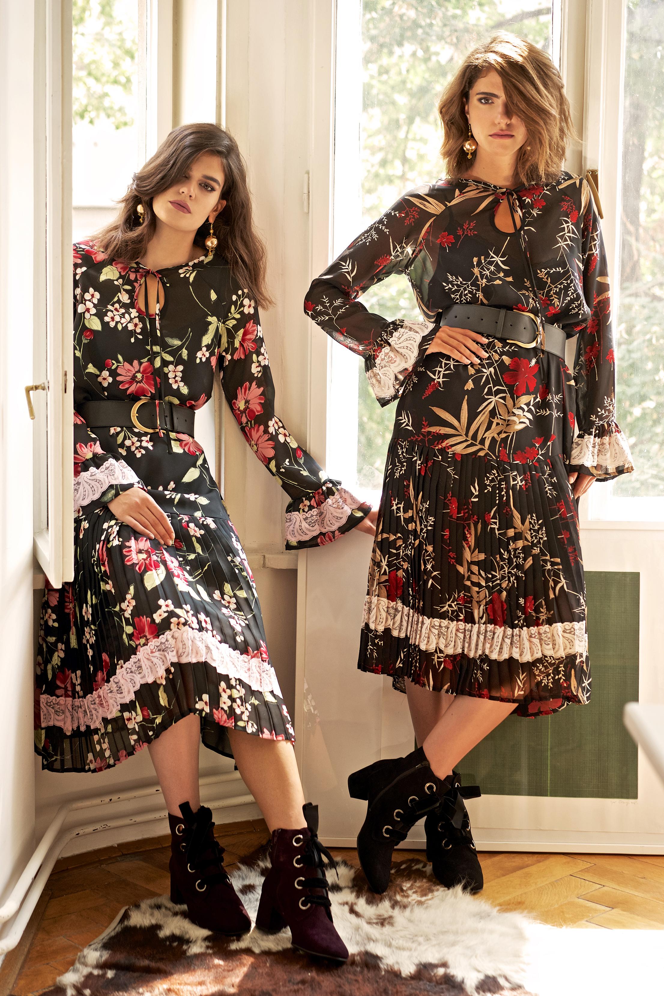 Haljina floralni print viskoza sa čipkanim detaljima, plisiran donji dio 1000 kn Remen kožni široki Anne 300 kn