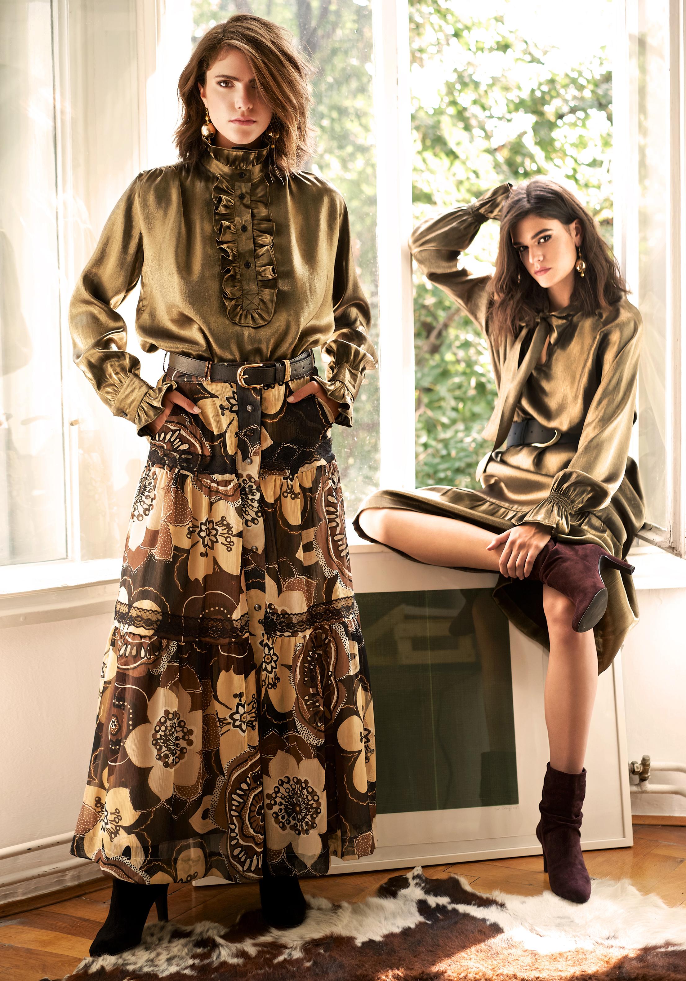Košulja viskozni lame Sara 580 kn Suknja floralni print chiffon Ljubica 650 kn Haljina viskozni lame Belle 850 kn Remen široki kožni Anne 300 kn