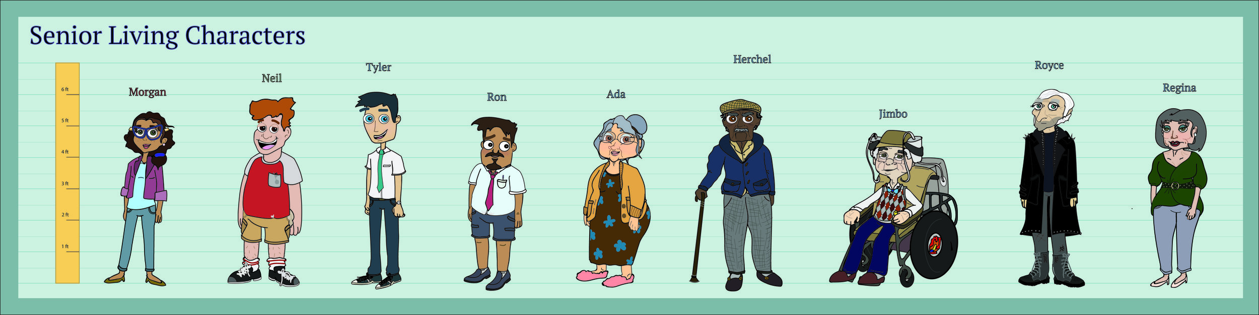The second draft of character designs.