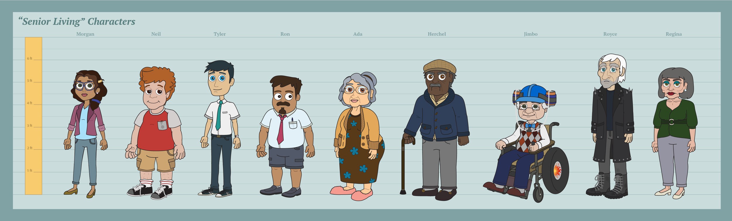 The final character designs completed by Jen Yung.