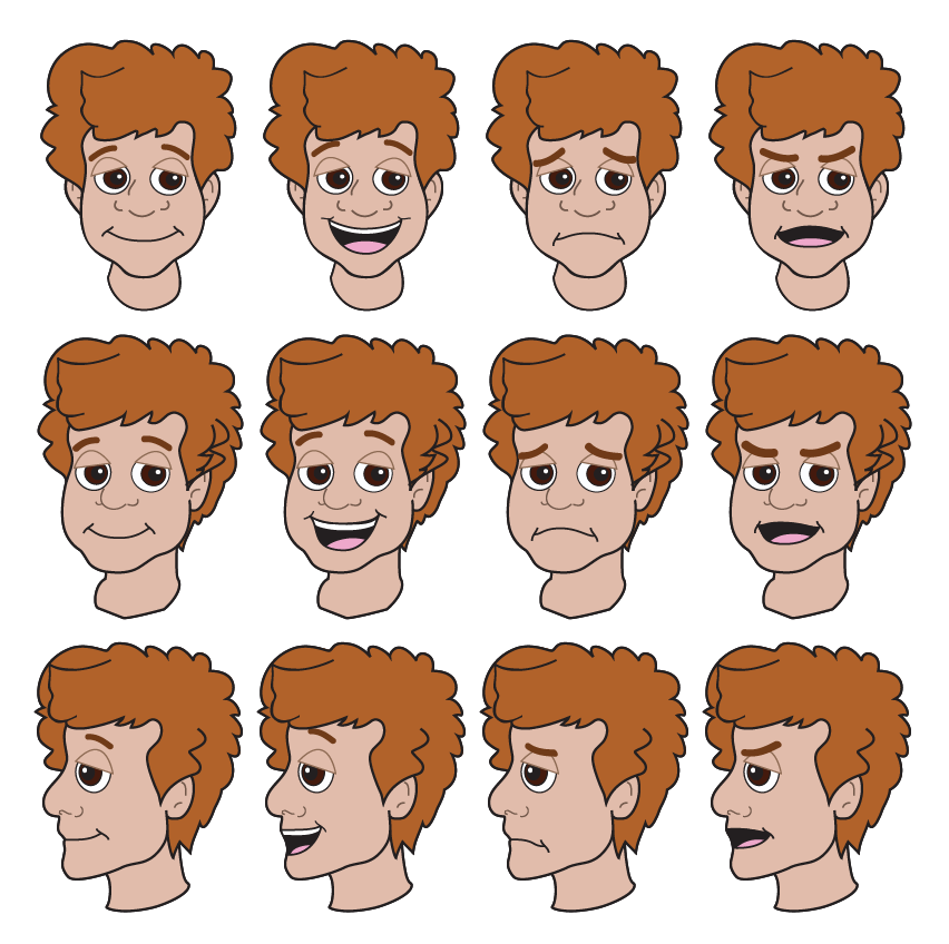 All the different facial expressions for the character of Neil.