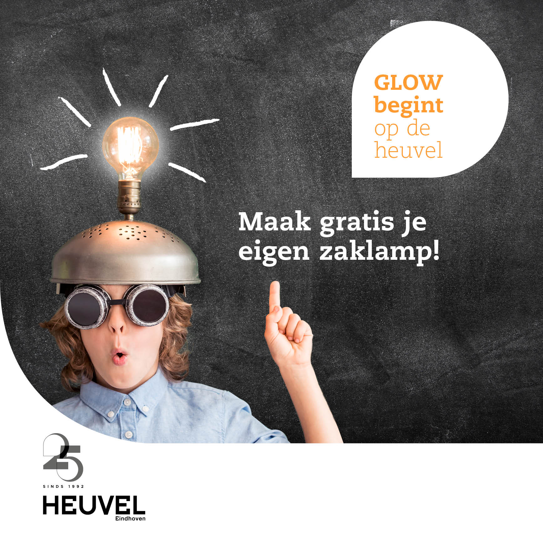 - Activities in public space. During the Glow lightfestival, shopping centre Heuvel participates with a great lightobject. Kids can create their own flashlight, from discarded spraycans to take along on the Glow route.