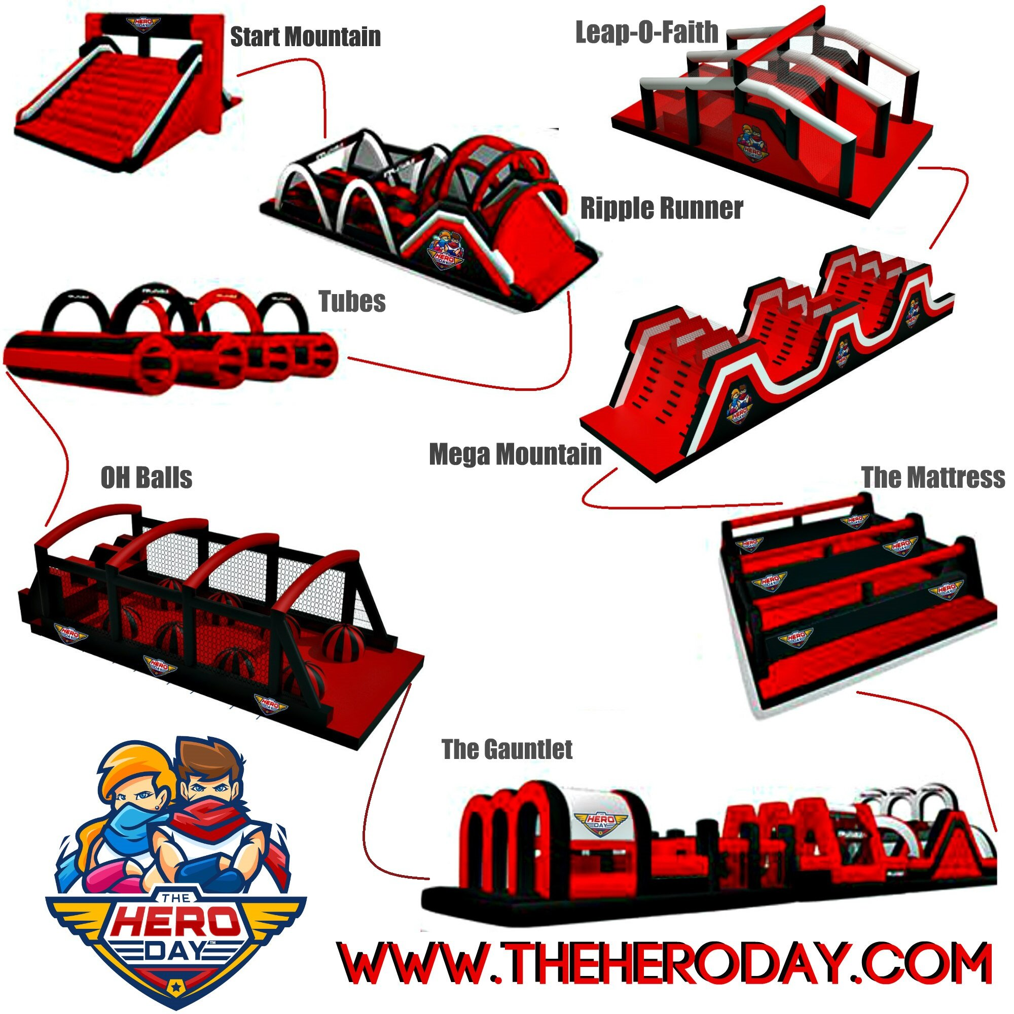 For 2020 The Hero Day™ presents The Inflatable Ninja Course.  The course is ideally set up in a horseshoe configuration with borrowed bleachers in the center to spectate the participants.  We typically charge $7-9.  per participant for two run attempts.