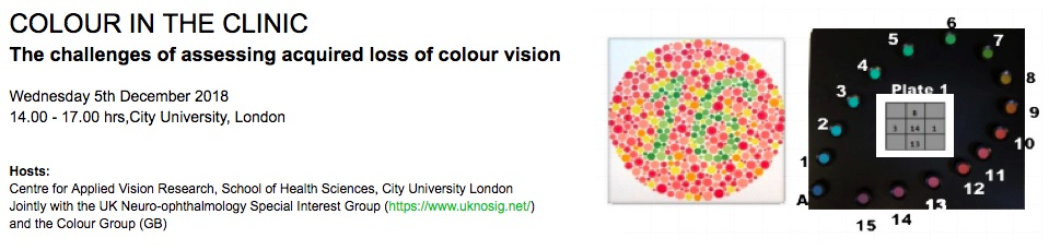 5th December 2018  This workshop-style meeting was held jointly with the Centre for Applied Vision Research and hosted at City University, London. The aim was to stimulate discussion around the translation of scientific research in testing vision and visual processing, particularly colour vision, into clinical practice ( programme here ). The meeting was well attended and was followed by a drinks reception sponsored by the   UK Neuro-ophthalmology Special Interest Group