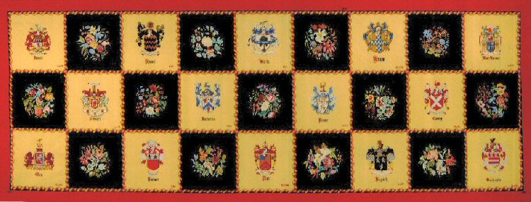 Rienzi Rug - Location:Rienzi Museum, Houston, TexasDesigner:Vicki FallonDescription:In 1959, Houston arts patron Harris Masterson III talked his wife, Carroll, and other members of his family and friends into making a needlepoint rug. In a year's time, they created 27 squares with designs of family heraldry and floral arrangements, and combined them into a vibrant embroidery 14 feet long and 6 feet wide. The rug was integral to Rienzi, the Masterson family home on Kirby in River Oaks, where it lay on the floor for four decades. As might be expected, the rug suffered wear and tear.In 1991, the Mastersons announced their decision to bequeath Rienzi and its contents to the Museum of Fine Arts, Houston. Eight years later, the family home opened to the public as the museum's wing of European decorative arts, but the rug, too fragile to remain in place, was put in storage. Then in August 2001, the American Needlepoint Guild, Lone Star Chapter, offered to replicate the carpet. More than 72 volunteers, 40 months and over 1 million stitches of Persian yarn later, the re-created Masterson carpet is on view at Rienzi, 1406 Kirby Drive.Dedicated:December 4, 2004, with Susan Davis, the National ANG president, in attendance.