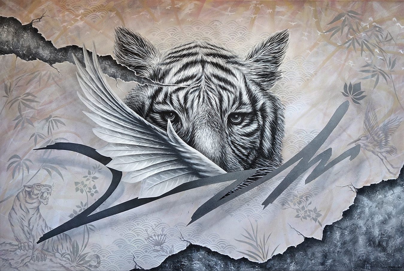 White Tiger - 100 x 150 cm - Acrylic on canvas -  *SOLD*