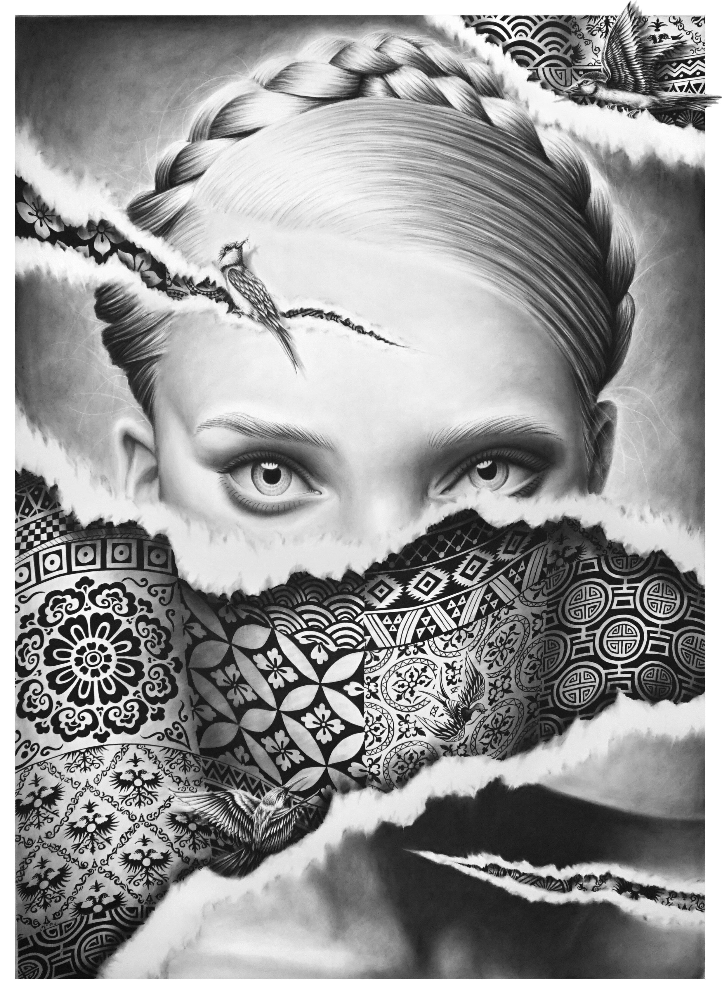 Les yeux du silence - Crayon pierre noire et fusain sur papier Canson Moulin du Roy - 150x110cm.jpg