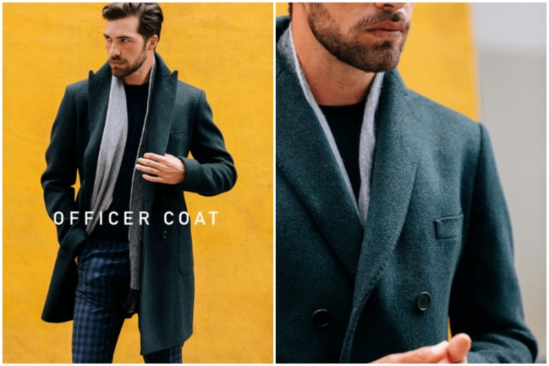 Garrison Bespoke Fall Winter Green Wool Cashmere Officer Coat