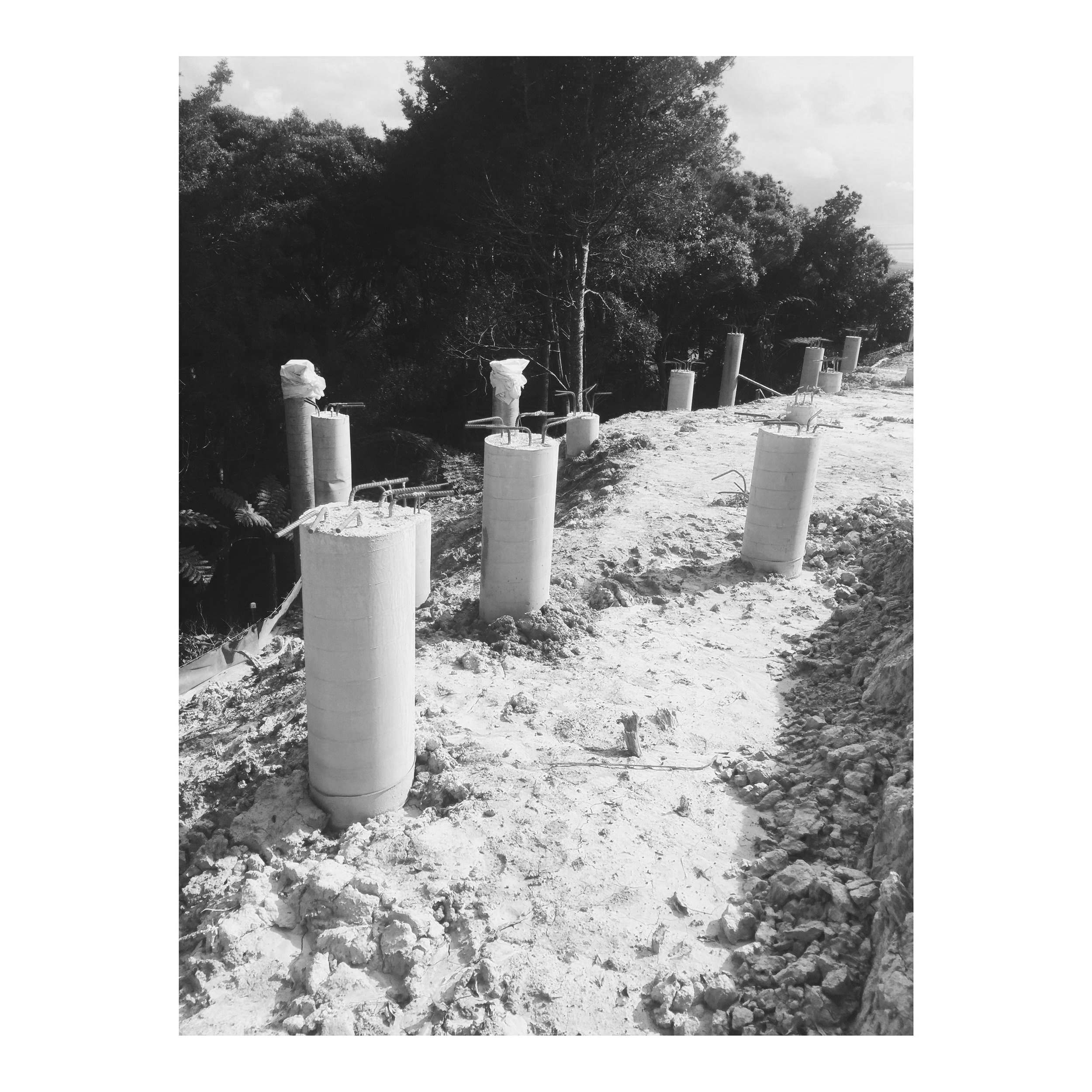 CONCRETE PILING   Instead of your standard timber pole piling, we opted for steel enforced concrete piling. With some piles exceeding 10m depth into the ground. Very cost effective and a fast process.