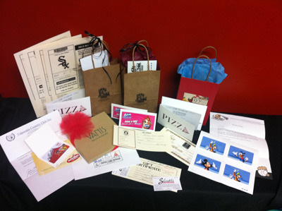 Lots of Gift Certificates and Tickets including Disney, Chicago White Sox, Vanis Salon, Culvers, Noodles, Martinis, Silcott's, Majestic Jewelers, Goodman Theatre, Chicago Architecture Foundation, and more!