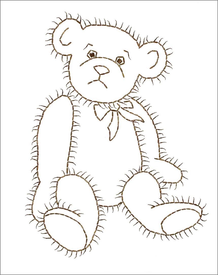 """TEDDY BEAR, Cockroach legs on paper, 14""""x11"""""""