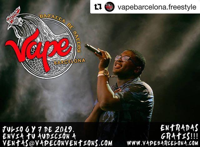 #Repost @vapebarcelona.freestyle ・・・ Envía tu audición de hasta 1 minuto a: ventas@vapeconventions.com o reserva tu entrada en www.vapebarcelona.com  #batalladegallosespaña #batalladegallos #batalladegallosredbull #freestylerap #arkano #hiphopespaña #españahiphop #hiphopbarcelona #barcelonahiphop #vapebarcelonaexpo2019 #vapeobarcelona #vapebarcelona #vapexpobarcelona #vapeexpobarcelona #barcelonavapea