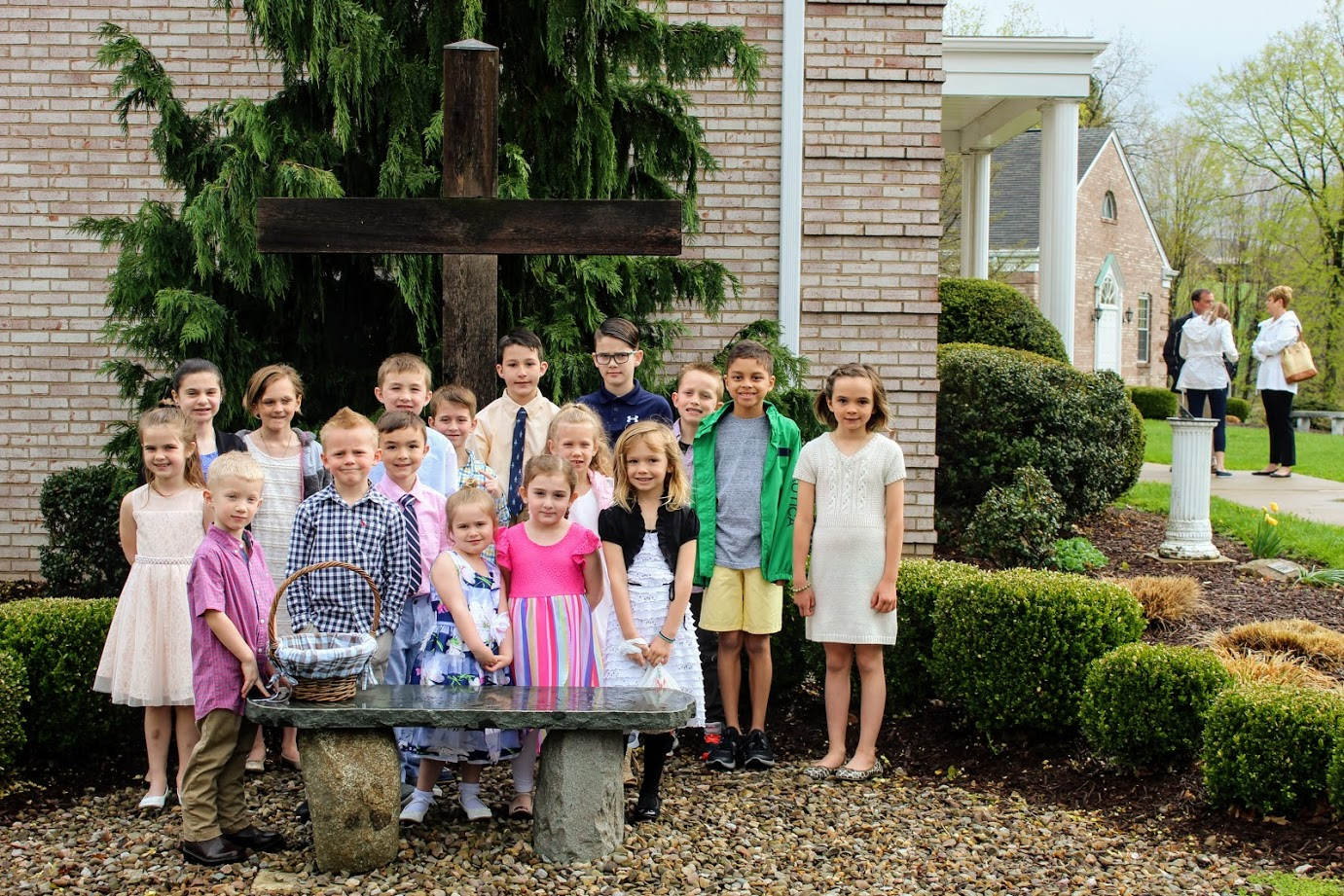 Easter cross with kids.JPG