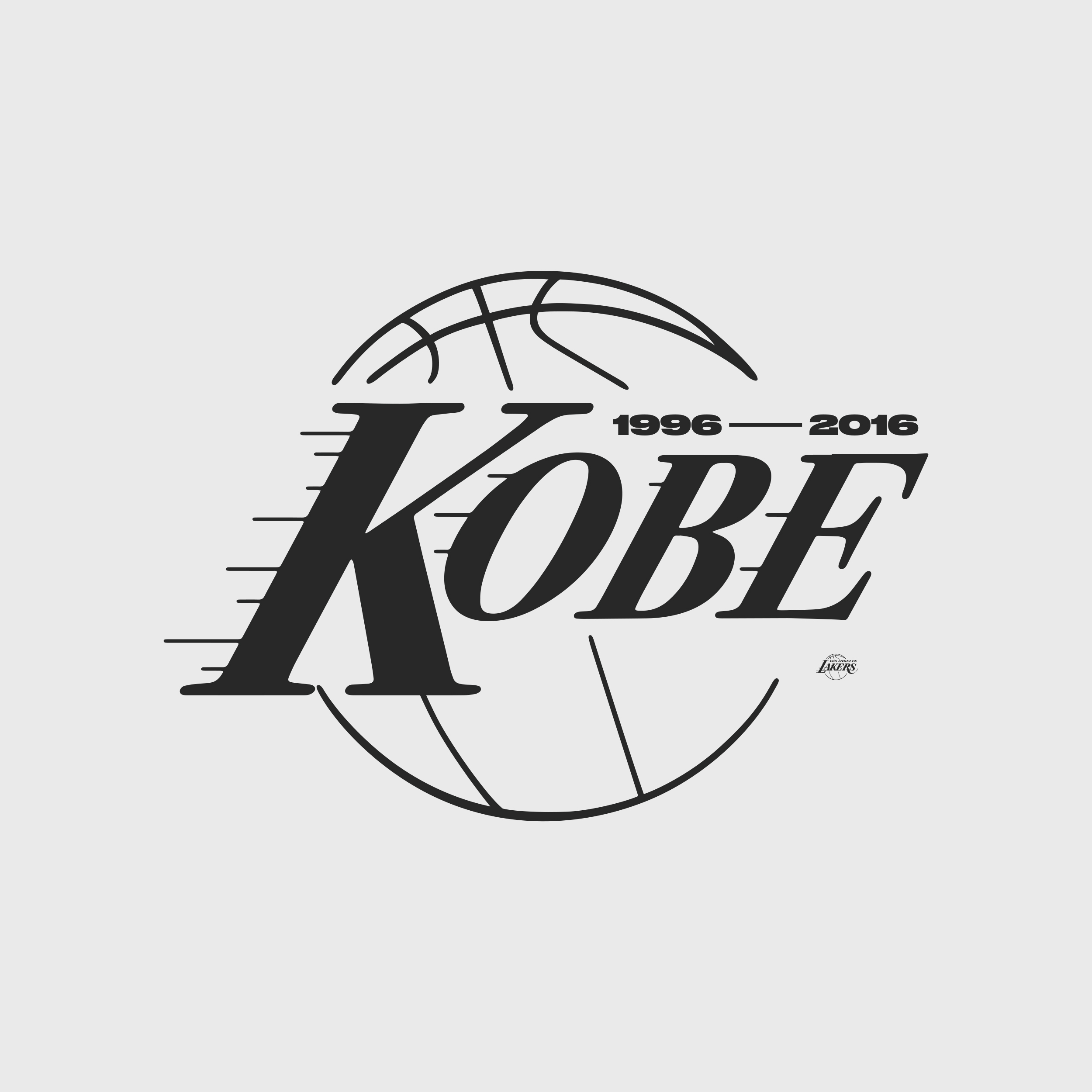 A flip on the Los Angeles Lakers logo. This mark was a part of a collection to honor Kobe Bryant's retirement. This is monumental because he was able to retire both numbers that he wore as a Laker. (8 & 24) This mark features the years that he played in the NBA and riffs off the iconic typography that the Lakers are known for.