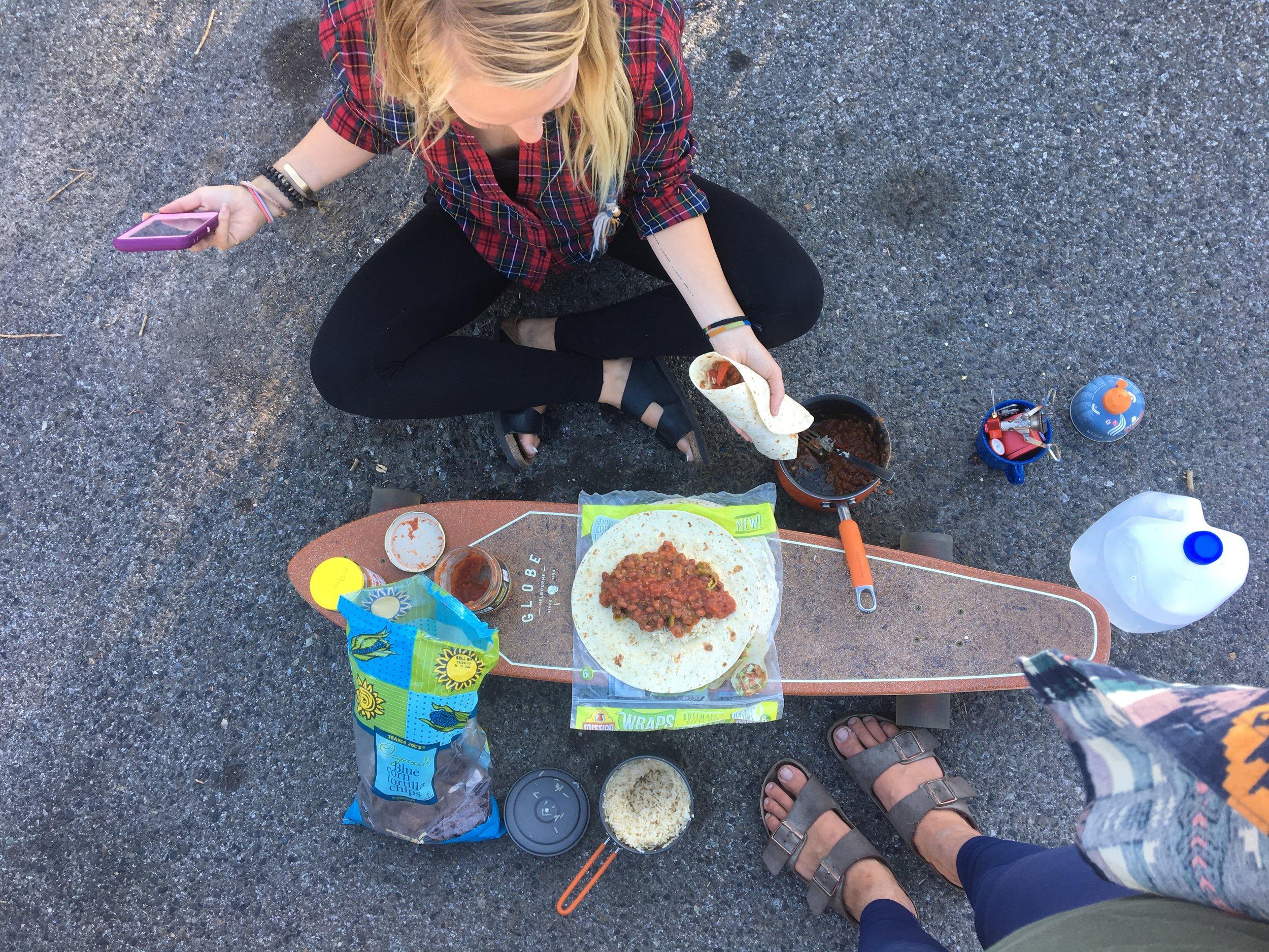 """Cooking """"parking lot burritos"""" in Mt. Shasta, California"""