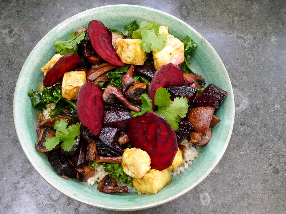 beet poké with tofu platter (ve, gf) £37.50 - (individual bowl pictured)a hearty grain bowl with miso glazed roast seasonal veg, shredded seasonal greens, brown rice, sesame, coriander and topped with crispy tofu. vegan, but you wouldn't know.crispy marinated tofu (soy, sesame), (optional) brown rice, sesame, shredded seasonal greens, glazed roast veg, coriander and miso shoyu dressing (soy, sesame, nuts)add chicken +£7.50