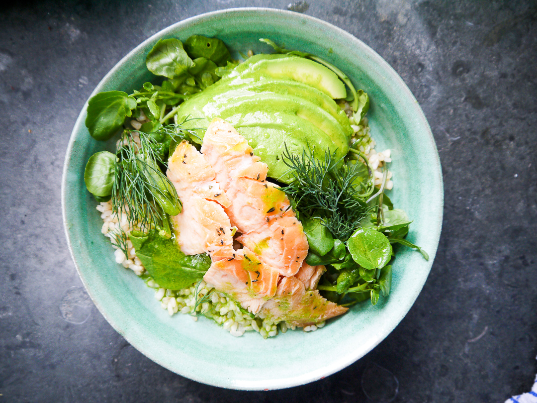 hot smoked salmon, brown rice, broccoli, avocado platter (gf) £42.50 - (individual bowl pictured)flaked hot smoked salmon over organic brown rice, with a lemon dressing, basil and avocado.